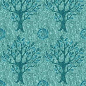 Tree and flower stamp - texture-MINAGREEN