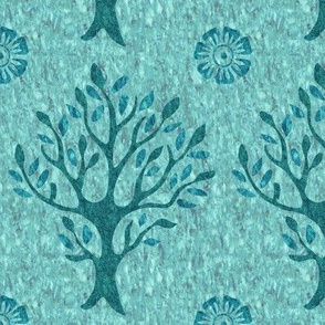 Tree and flower stamp - texture-AQUA