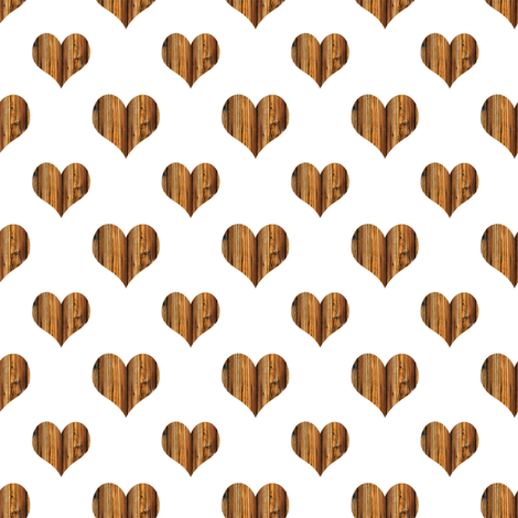 Wooden Heart Large fabric by janinez on Spoonflower - custom fabric