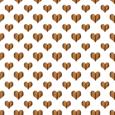 Wooden Heart Smaller fabric by janinez on Spoonflower - custom fabric