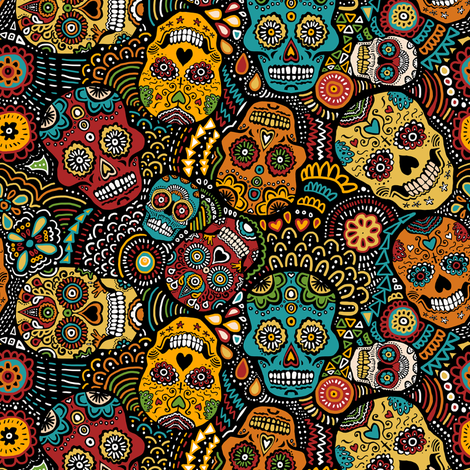 mexican sugar skulls EXTRA SMALL fabric by lusykoror on Spoonflower - custom fabric