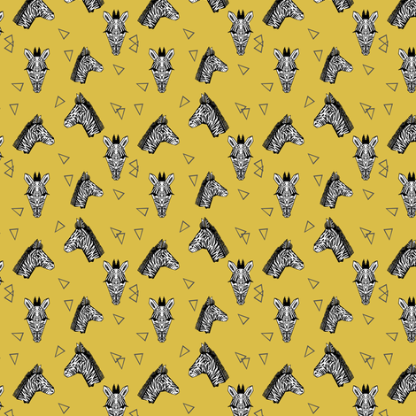 Zebras - Mustard (Tiny Version) by Andrea Lauren fabric by andrea_lauren on Spoonflower - custom fabric