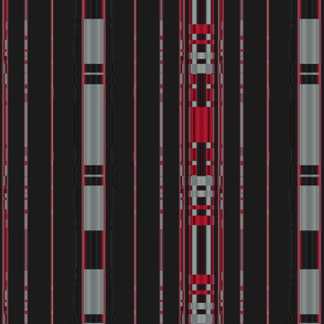 Red and Gray Stripes on Black Large