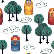Matryoshka in the Woods - White