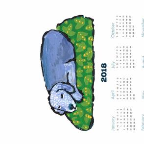 pup nap 14 : 2018 calendar tea towel