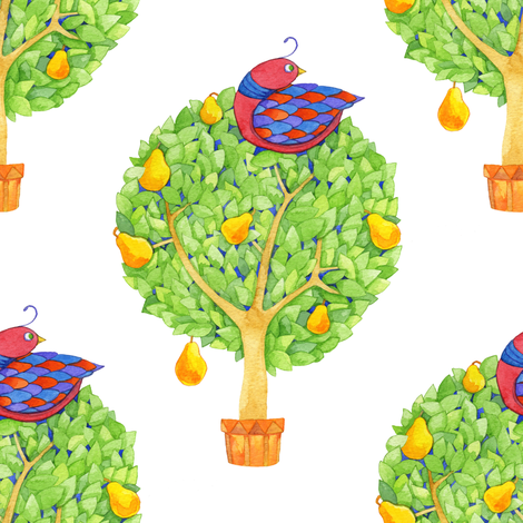 Partridge in a Pear Tree 1 fabric by floating_lemons on Spoonflower - custom fabric