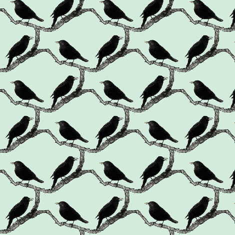 blackbirds mint fabric by miamea on Spoonflower - custom fabric