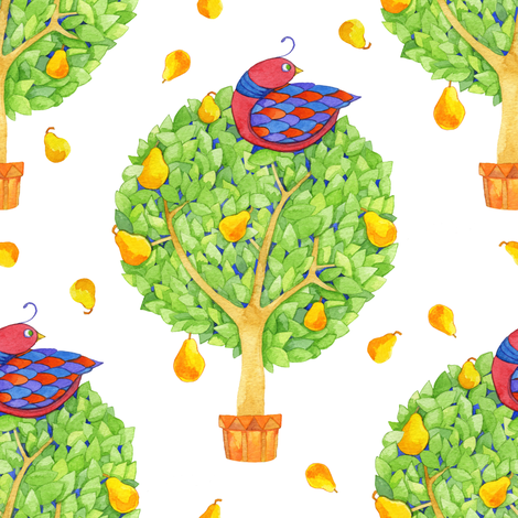 Partridge in a Pear Tree 2 fabric by floating_lemons on Spoonflower - custom fabric