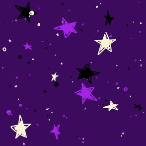 Sweet Stars - Black, Pale Yellow, and Purple on Dark Violet