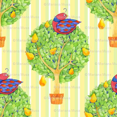 Partridge in a Pear Tree 1 on Stripes