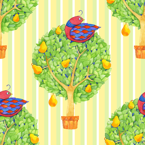 Partridge in a Pear Tree 1 on Stripes fabric by floating_lemons on Spoonflower - custom fabric