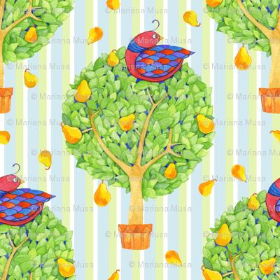 Partridge in a Pear Tree 2 on Stripes Blue