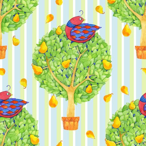 Rpartridge_pear_tree_2_on_stripes_blue_shop_preview