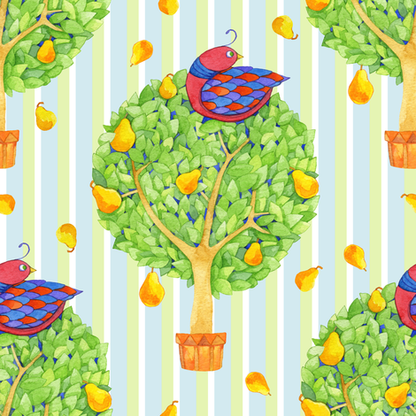 Partridge in a Pear Tree 2 on Stripes Blue fabric by floating_lemons on Spoonflower - custom fabric