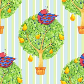 Partridge in a Pear Tree 1 Stripes Blue