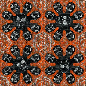 Black skeletons on orange