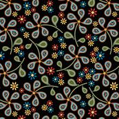 Paisley Floral Print Black