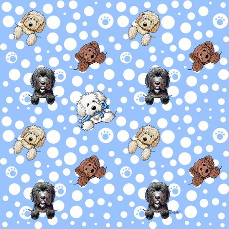 TINY Pocket Doodle Dogs fabric by kiniart on Spoonflower - custom fabric