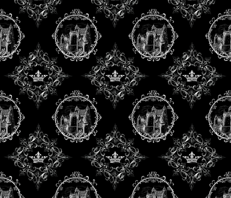Fairy Tale Castle and Crown on Black fabric by 13moons_design on Spoonflower - custom fabric