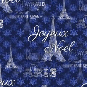 Paris Noël Blue Christmas Snowflakes