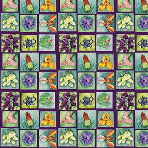 Watercolor Flowers in Violet