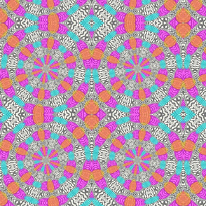 Pink Blue Orange Zebra Circles