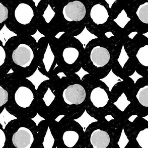 diamonds and dots - black and white