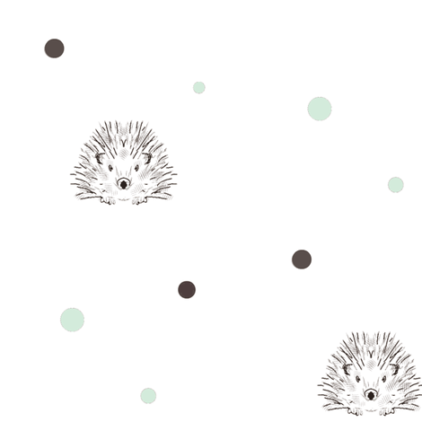 hedgehog dots mint fabric by miamea on Spoonflower - custom fabric