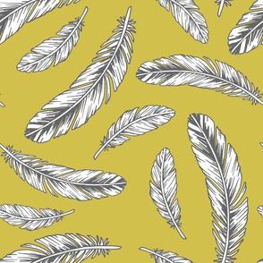 feathers - mustard