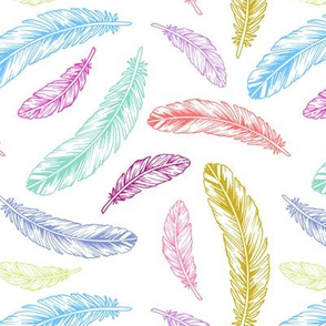 feathers - rainbow