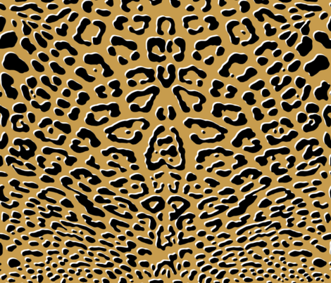 Ooh La La! Leopard ~ Black with White on Gilt  fabric by peacoquettedesigns on Spoonflower - custom fabric