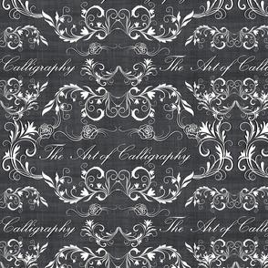 calligraphy  damask