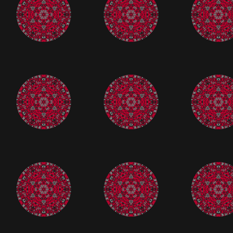 Red Kaleidoscope Dot on Black small fabric by gingezel on Spoonflower - custom fabric