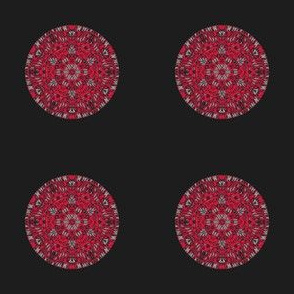 Red Kaleidoscope Dot on Black small