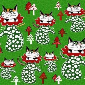 kittens in mittens red green white