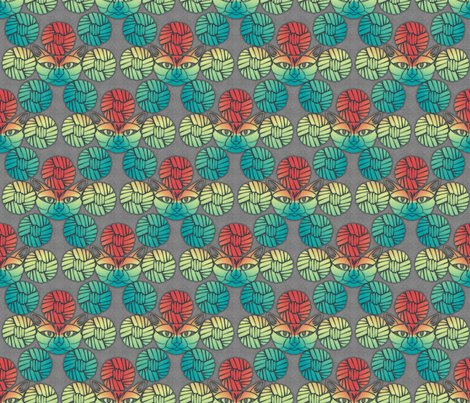 cats and yarn fabric by glimmericks on Spoonflower - custom fabric