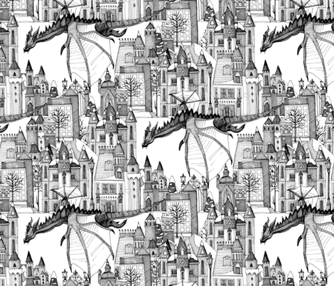 Dragon Kingdom Winter Toile fabric by scrummy on Spoonflower - custom fabric