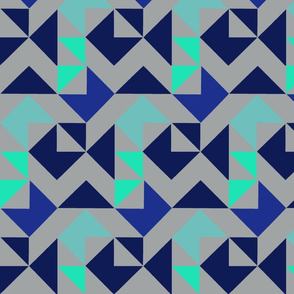 Grey and Blue Friendship Cheater Quilt