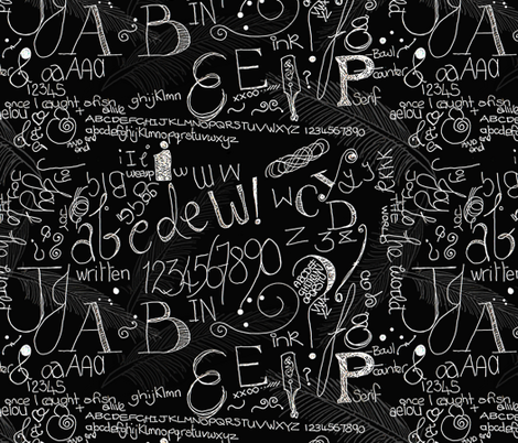 Calligraphy Blackboard Fabric Wiccked Spoonflower
