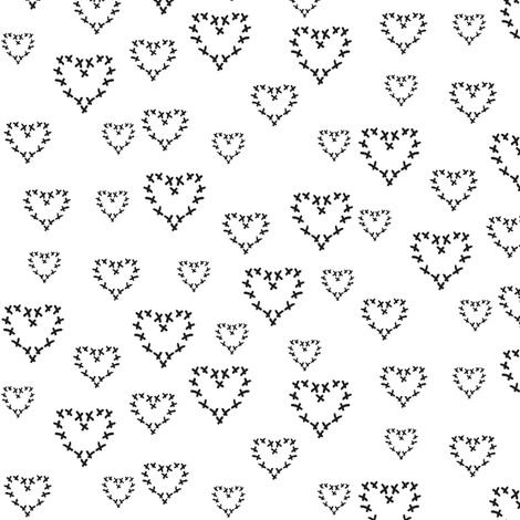 cross my heart, black  fabric by miamea on Spoonflower - custom fabric