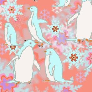 Penguins Rosy Background Larger