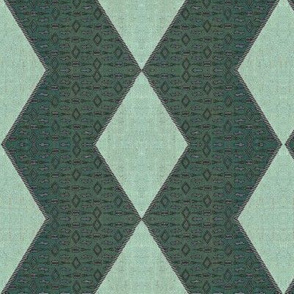 Daimond Chevron corded - teal, aqua, gray