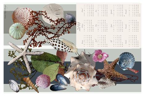 2018 Beach Walk Tea Towel Calendar fabric by lauriekentdesigns on Spoonflower - custom fabric