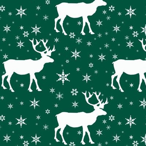 Reindeer In Snow Green
