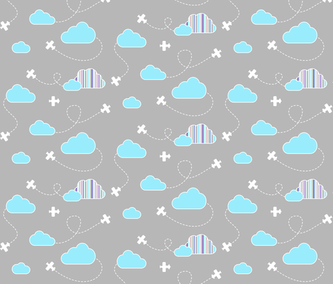 Airplanes in Clouds White fabric by cavutoodesigns on Spoonflower - custom fabric