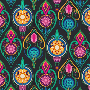 Suzani-Inspired Ogee Floral Design on Dark Background