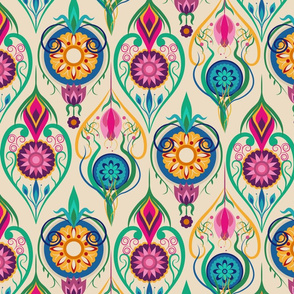 Suzani-Inspired Ogee Floral on Cream Background