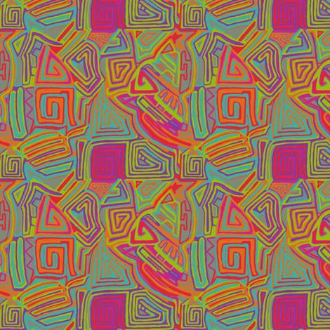 Mola Mayan Maze Aztec fabric by wren_leyland on Spoonflower - custom fabric