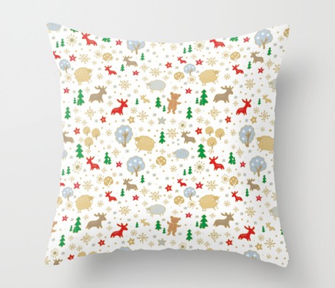 Christmas pattern, deer, bear, snowflakes