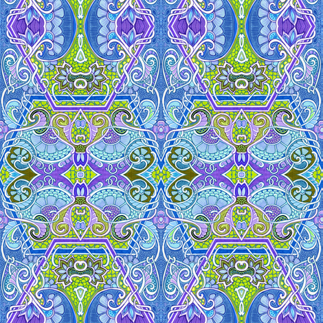 Slay Me Your Next Dragon Blues fabric by edsel2084 on Spoonflower - custom fabric